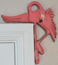 Set of 2 Pink Flamingo Ballerina Door or Window Frame Sitters