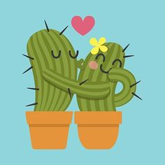 Vector image of Kiss Cactus Vector Image, includes love, flowers, pet, plant & s… Cactus House Plants, Cactus Art, Indoor Cactus, Cactus Painting, Vector Amor, Vector Vector, Cactus Cartoon, Cactus Vector, Plant Vector