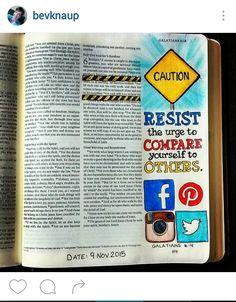 Bev Knaup bible journaling Galatians 6:4 More