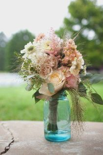 country elegance wedding - blue mason jars to hold my girlies flowers