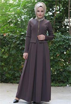 Neşe Ön Fermuarlı-Ceketli Elbise-Vizon-2297