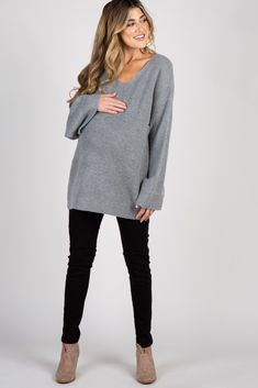 0227746309513 Grey Knit Bell Sleeve Sweater Vneck Outfit, Maternity Sweater, Blush Pink,  Bell Sleeves