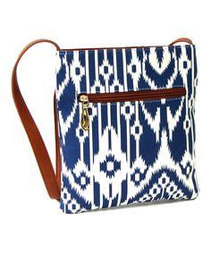 Blue Ikat Crossbody Bag