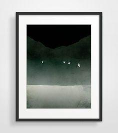 Black And White Art, Minimalist Poster, moderne Kunst, abstrakte Landschaft