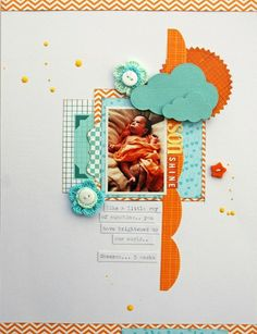 **one-pic layout, center on page, using shapes and layering** son shine layout by leanne allinson - Two Peas in a Bucket
