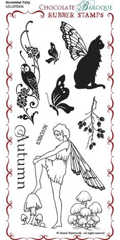 November Fairy Rubber Stamp sheet - DL - Chocolate Baroque