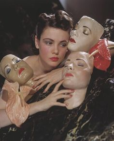 Actress Gene Tierney posed with three portrait masks made by Lillian Bettinger and two anthurium flowers. Get premium, high resolution news photos at Getty Images Photo Reference, Drawing Reference, John Batho, Foto Fantasy, Gene Tierney, Alphonse Mucha, Foto Art, Art Inspo, Portrait Photography