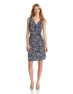 Anne Klein Womens Petite Abstract Dot Print Dress, New Marine Multi, Large Petite Anne Klein