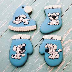 Купить Пряничный набор Веселые собачки - Новый Год, собака, год собаки, голубой, подарок ребенку