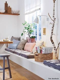 pillows in a breakfast nook