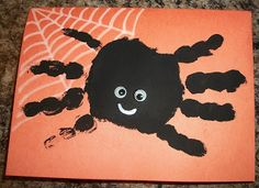 Cute Hand Print Spider Card for Halloween. You and your kids can make spooky, handmade card for Halloween with this easy tutorial. Kids Crafts, Halloween Crafts For Kids, Preschool Crafts, Holiday Crafts, Holiday Fun, Arts And Crafts, Craft Projects, Spider Art Preschool, Halloween Ideas