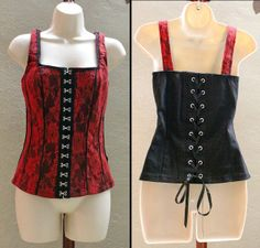 Red floral lace over black makes this corset really pretty.