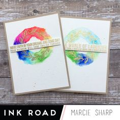 The Subway Art stamp series is a unique find for stampers. All of your favourite quotes or movies lines all in one block just begging to be used in a… Gold Watercolor, Watercolour Painting, Glitter Gloss, Gold Powder, Movie Lines, Subway Art, My Stamp, Some Fun, Rainbow Colors