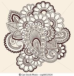 Illustration of Hand-Drawn Intricate Abstract Flowers Mehndi Henna Tattoo Paisley Doodle vector art, clipart and stock vectors. Paisley Doodle, Paisley Drawing, Mehndi Tattoo, Henna Tattoo Designs, Mehndi Designs, Henna Tattoos, Paisley Tattoos, Art Designs, Flower Designs