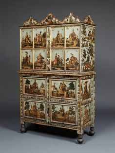 AN EXTRAORDINARY LIGHT BLUE LACCA POVERA CABINET ON CHEST DEPICTING NOBLES AND BATTLE SCENES FROM THE OTTOMAN EMPIRE VALENCIA. First Half Of The Eighteenth Century.