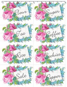 Spice Jar Labels, Pantry Labels, Decoupage Vintage, Vintage Paper, Kitchen Canister Labels, Galentines Day Ideas, Printable Labels, Printables, Free Printable