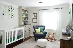 Gray and Green Baby Boy's Nursery - Young House Love Nursery // such a cool, neutral room!