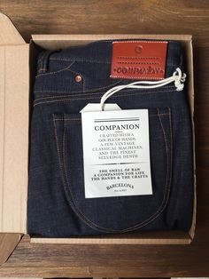 Companion denim jeans. Fabric is 18oz Japanese heavy ring deep indigo red tape selvage.