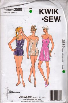 Kwik Sew 2589 Misses LINGERIE Pattern Camisole Shorts Nightie Slip Chemise womens sewing pattern by mbchills