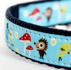 Urban Forest Dog Collar on Blue / European Ribbon Dog Collar