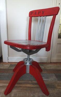 chaise que j'ai relooké, satinelles rouge passion et alu