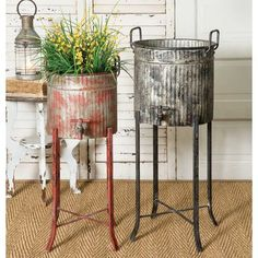 Set of Two Distressed Corrugated Metal Spigot Tubs with Stands Planters Bins Rustic Farmhouse Decor, Farmhouse Chic, Country Decor, Rustic Decor, Vintage Farmhouse, Country Garden Decorations, Garden Tub, Garden Planters, Planter Pots