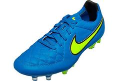 Nike Tiempo Legend V FG Soccer Cleats - Blue and Volt...grab yours at SoccerPro today!