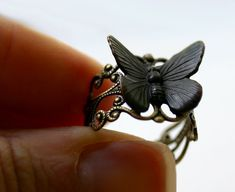 Butterfly Ring  Steampunk Black Goth Moth by robinhoodcouture, $18.00