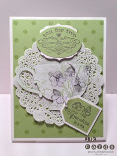 Stampin' Up!, CCREW0213CF, Tea Shoppe, Distressed Dots, Labels Collection Framelits, Extra Large Oval Punch, Large and Extra Large Tag Punch, White Stampin' Emboss Powder, Tea Lace Paper Doilies, Wisteria Wonder Bakers Twine