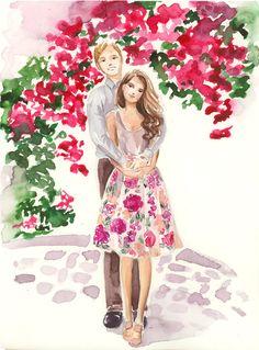 Custom Family Portrait Illustration Watercolor Wedding by Reani