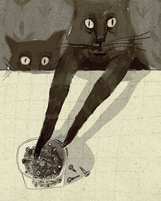 black cat Illustration by Alisa Yufa. Crazy Cat Lady, Crazy Cats, Weird Cats, Illustration Inspiration, Black Cat Illustration, Cat Illustrations, Black Cat Art, Black Cats, White Kittens