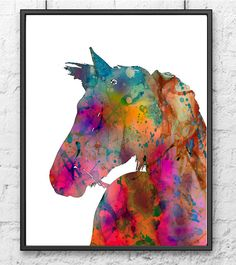 Watercolor horse art print colorful wall decor by Thenobleowl