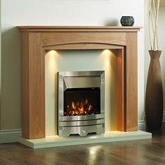 Electric Oak Wood Surround Black Hearth & Back Panel Modern Silver LED Flame Fire Wall Fireplace Suite 48 Wood Fireplace Surrounds, Fireplace Fan, Fireplace Design, Fireplace Mantles, Electric Fire And Surround, Oak Fire Surround, Electric Fireplace Suites, Best Electric Fireplace, Electric Fireplace Surround
