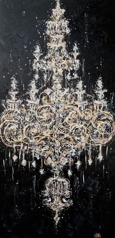 "TITLE:  ""MIDNIGHT CHANDELIER""  PAINTING BY ZSAZSA BELLAGIO"