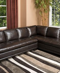 Look what I found on #zulily! Calabasas Top-Grain Leather Sectional Sofa #zulilyfinds