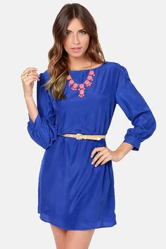 Check it out from Lulus.com! Treat yourself to a little something sweet by way of the Sorbet-by Doll Royal Blue Shift Dress! Woven blue shift dress is silky soft and lightweight, with a boat neckline and puffed three-quarter sleeves with cuffs. Belt not included. Unlined. Model is wearing a size small. 100�0Polyester. Hand Wash Cold. Made with Love in the U.S.A.