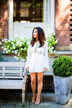 #White #Playsuit #Romantic #Heels #Nude #outfit #allwhite