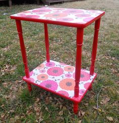 Mod Podge side table before and after