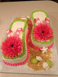Flip Flop Cake 2 Shoe Cupcakes, Cupcake Cake Designs, Cupcake Cakes, Pretty Cakes, Cute Cakes, Flip Flop Cakes, Flip Flop Cake Ideas, Flip Flops, Luau Party