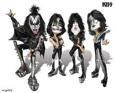 Kiss - Paul Stanley, Gene Simmons, Eric Singer & Tommy Thayer by Sebastian Cast Kiss Band, Kiss Rock Bands, Cartoon Kiss, Cartoon Faces, Funny Caricatures, Celebrity Caricatures, Metallica, Heavy Metal, Banda Kiss