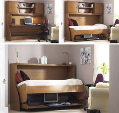 the best murphy bed ever you don't even have to clean off the desk before folding it down I think I am going to figure out how to do this for my second bedroom - folding modern hideabed