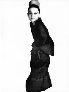 Audrey Hepburn photographed by Irving Penn modeling Givenchy for Vogue Magazine…