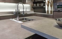 Neolith Beton kitchen benchtop in a silk finish