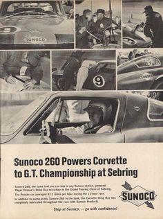Sunoco 260 Powers Corvette at Sebring ad 1966