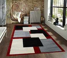 Homemusthaves Black Grey White Red New Modern Contemporary Geometric Vegas Blocks Hand-Carved Area Rug Carpet