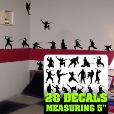 This is for my Ninja girl.  Exactly like this except  I am going to have a pink border around her bedroom walls.  Ninja Wall Art ,Ninja Silhouettes room ,Ninja Wall decal Silhouette decals