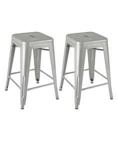 Vintage Steel Counter Stool - Set of Two