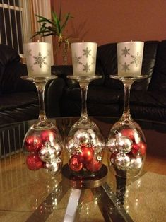 DIY Christmas decorations Upside down wine glass.dollar store & votive and candle store wine glass crafts store wine glass christmas crafts Christmas On A Budget, Christmas Wine, Christmas Candles, Christmas Ornaments, Christmas Images, Christmas Snowman, Christmas Christmas, Wine Glass Centerpieces, Wine Candles