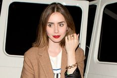 Matte Red Lipstick Is the Latest Makeup Bag Must-Have—See How Celebs Are Wearing the Trend | love Lily Collins !