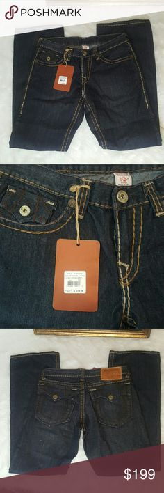 Men's True Religion Jean's New with tags Size 32 These Men's True Religion Jean's are in Perfect condition. Never worn. New with tags. Tag 319.00 Boot Cut. These are the Johnny Heritage Super T Size 32/34 True Religion Jeans Bootcut
